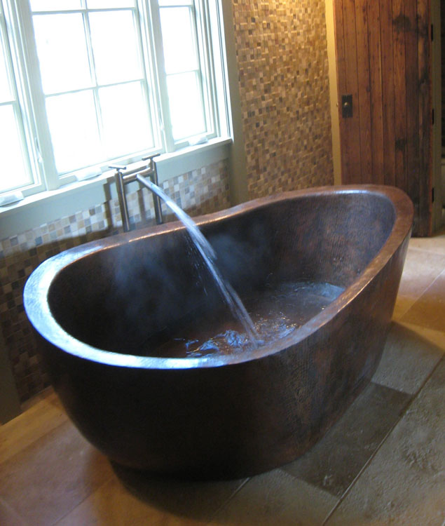Client gallery custom copper bathtub deep copper for Deep built in bathtubs