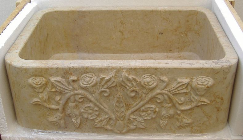 Carved Stone Apron Sink | Carved Stone Farm Sink | Stone Kitchen Sink    Rosalia ...