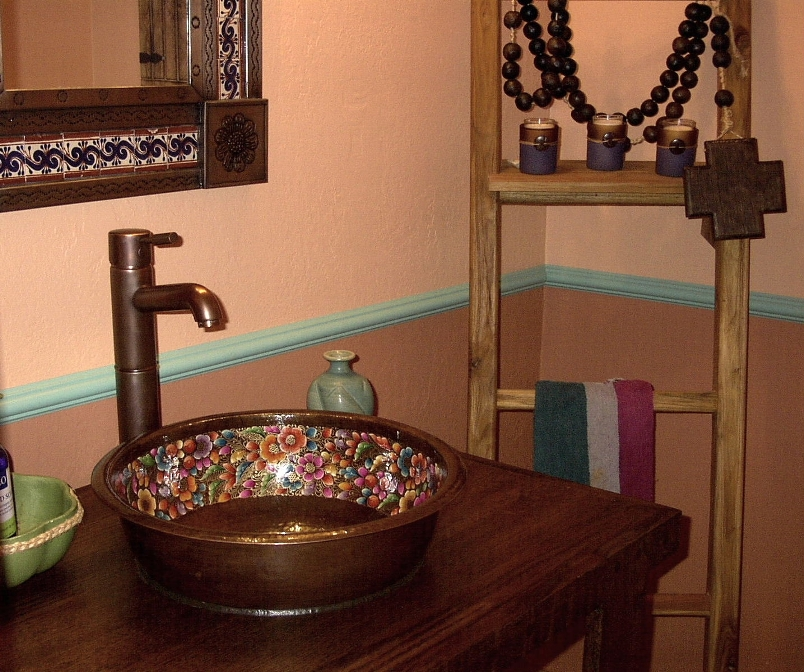 kitchen sink and faucets client gallery mexican painted copper sink 5626
