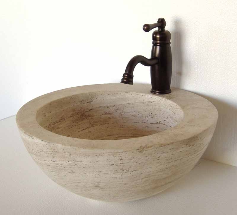 Stone Vessel Sink | Travertine Bathroom Sink | Stone Vanity Sink - Omara