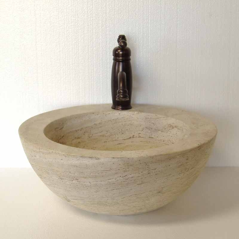 Captivating Travertine Vessel Sink | Stone Vessel Sink | Stone Vanity Sink   Omara