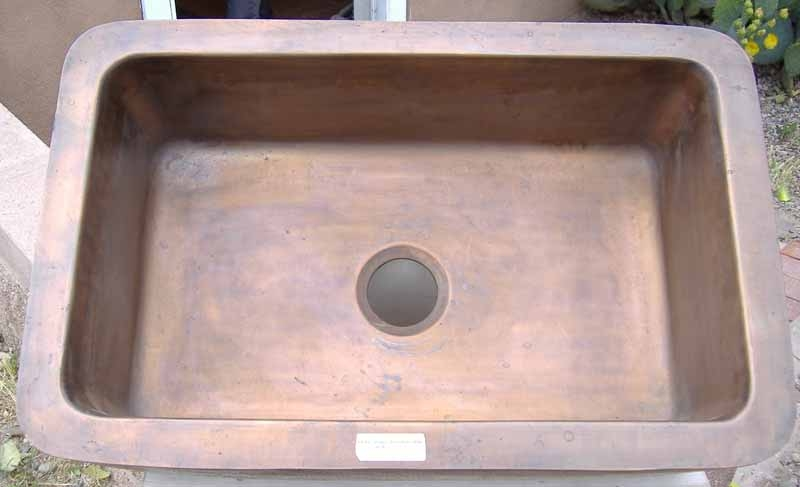 Recycled Copper Kitchen Sink - Front Interior