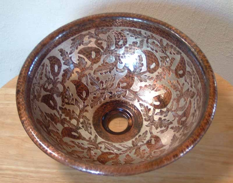 Mexican Hand Painted Copper Vessel Sink
