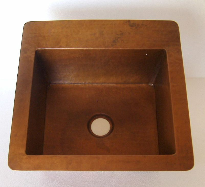 Rectangular Copper Bar Sink | Copper Vegetable Prep Sink | Copper RV Sink - Rita