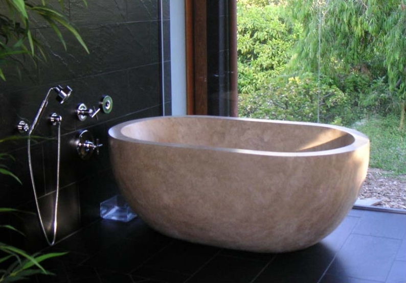 Natural Stone Bathtub | Stone Soaking Tub | Travertine Bathtub - Serena